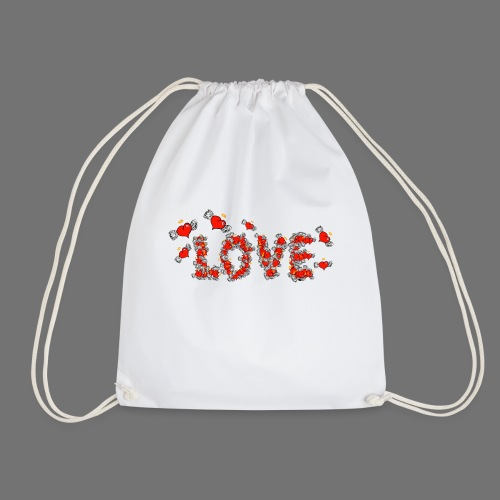 Flying Hearts LOVE - Drawstring Bag