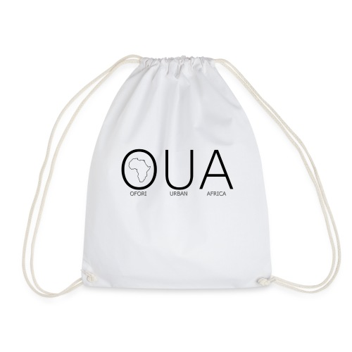 OFORI URBAN AFRICA OUA logo WHITE back png - Drawstring Bag