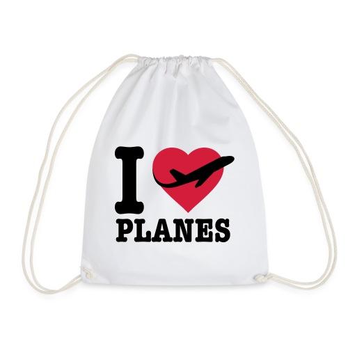 Rakastan lentokoneita - mustaa - Jumppakassi