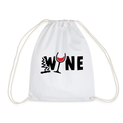 Wijn, wijnglas en kurkentrekker. Proost, wijnfeest - Gymtas