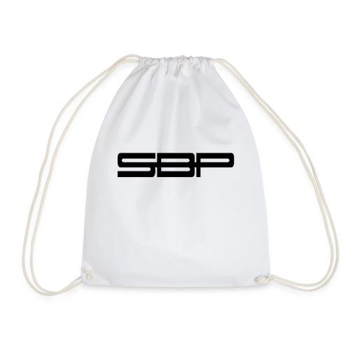 T-shirt white chest emblem black - Drawstring Bag