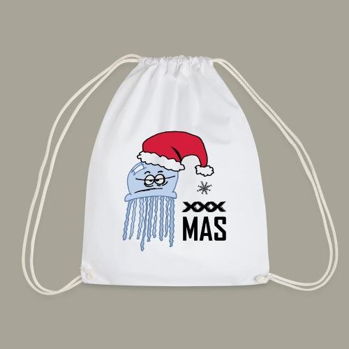 Qualle mit Weihnachtsmütze X MAS - Turnbeutel
