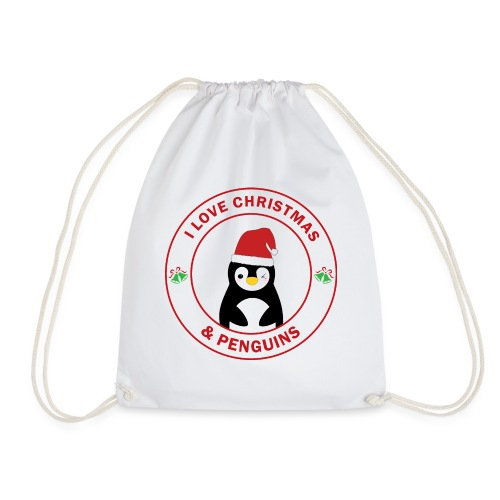 Christmas Penguin - Drawstring Bag