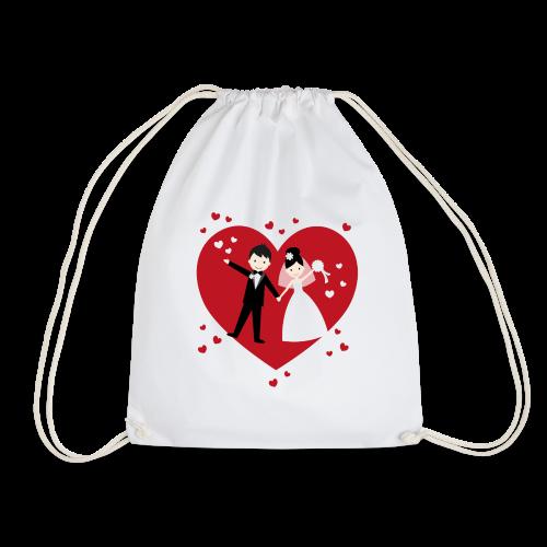 Hochzeitspaar mit vielen Herzen - Rot - Turnbeutel