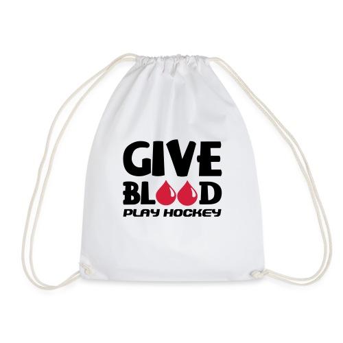 Give Blood Play Hockey (version 2) - Drawstring Bag
