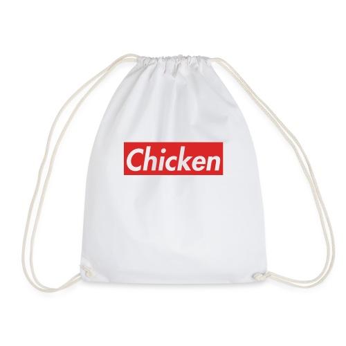 ChickenWhiteText - Drawstring Bag