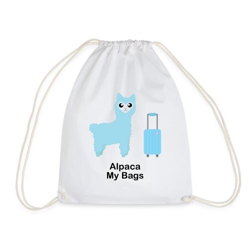 Alpaca My Bags (Blue) - Drawstring Bag