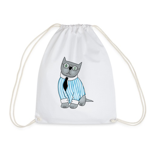 Cat with glasses - Drawstring Bag