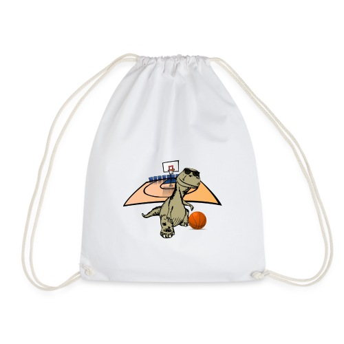 Dino Rex Playing Basketball T-Shirt - Drawstring Bag