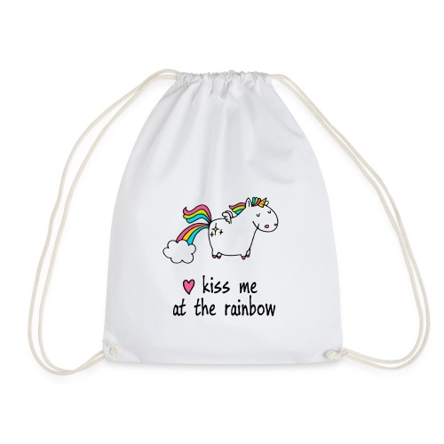 Funny T-Shirt | Unicorn - kiss me at the rainbow - Turnbeutel