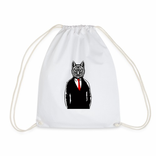 Wolf Wearing Tux T-Shirt Funny Canine Wolves Vest - Drawstring Bag