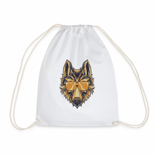 Wolf With Sunglasses T-Shirt Canine Wolves Head - Drawstring Bag