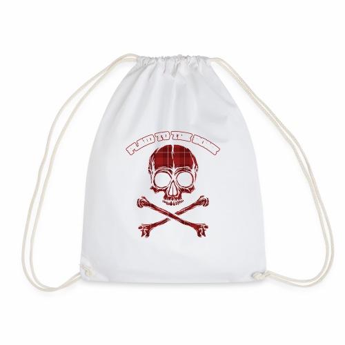 Plaid To The Bone Funny Plaid Skull And Bones - Drawstring Bag