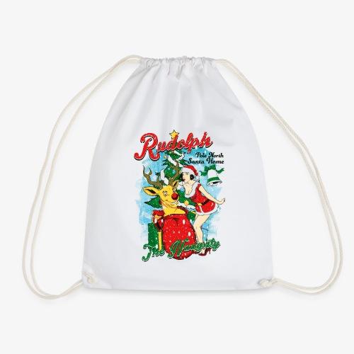 NAUGHTY RUDOLPH - Rentier Rudolph mit Pin-Up - Turnbeutel
