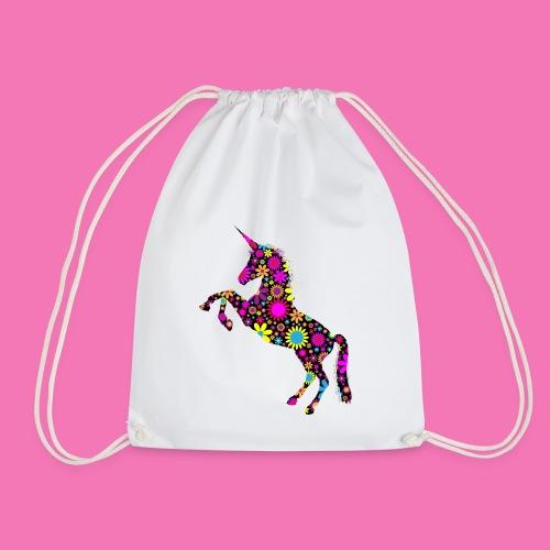 Floral Unicorn Silhouette - Turnbeutel