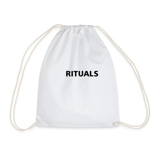 ig rituals text black and white - Drawstring Bag