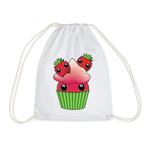 Cute strawberry kawaii cupcake - Gymnastikpåse