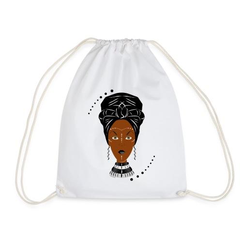 African Black/White Wrap - Drawstring Bag