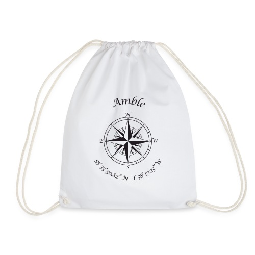 Amble, Northumberland Compass (black) - Drawstring Bag