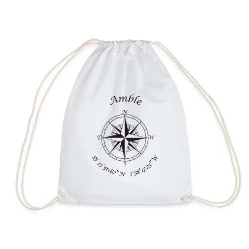 Amble, Northumberland Compass (black) - Drawstring Bag