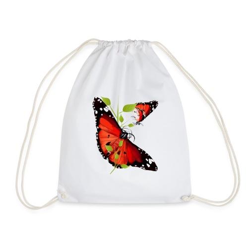 TWO BRIGHT ORANGE BUTTERF - Drawstring Bag