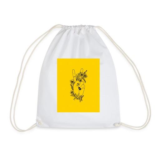 Yellow Peace Symbol Art - Drawstring Bag