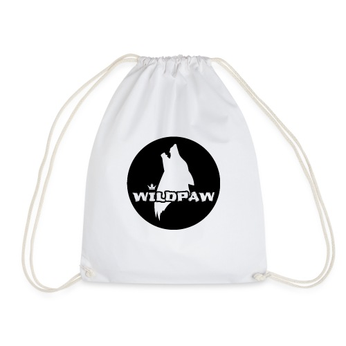 Wildpaw logo circular transparent mono - Drawstring Bag