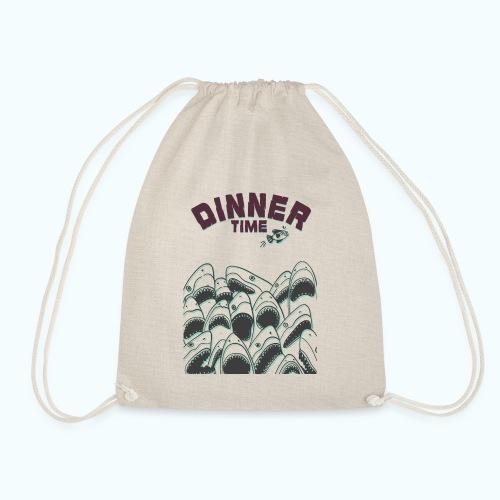 Dinner Time Funny Retro 90s Shark Shirt - Drawstring Bag