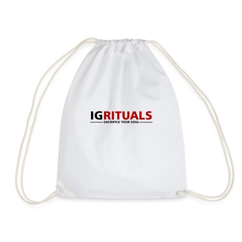 ig rituals text black and red - Drawstring Bag