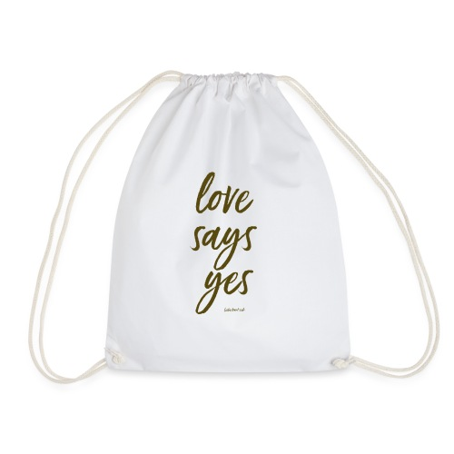 Love says yes diagonal gold - Turnbeutel
