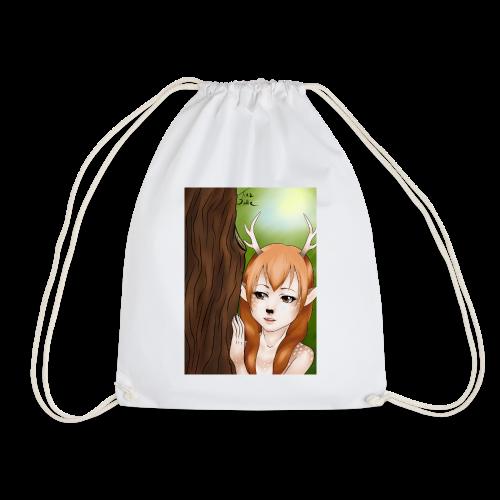 Womens tank: Deer-girl Design by Tina Ditte - Drawstring Bag