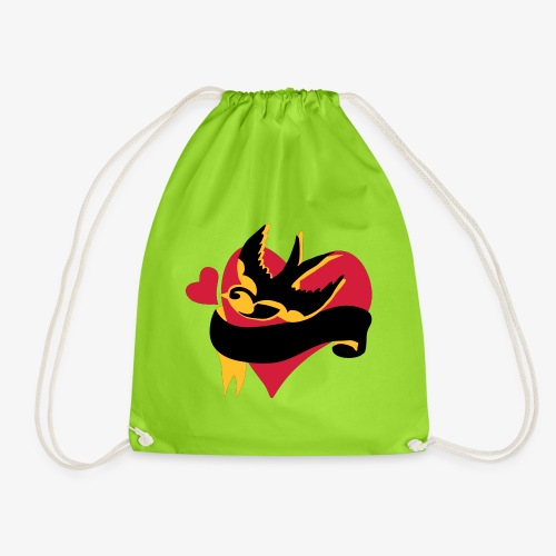 retro tattoo bird with heart - Drawstring Bag