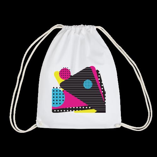 Abstract vintage shapes pink - Drawstring Bag