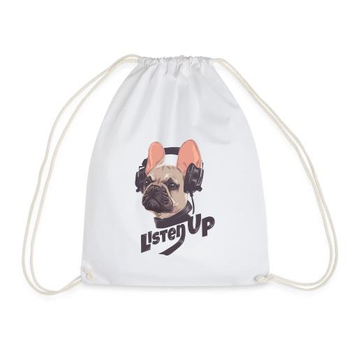 Listen up Französischen Bulldogge mit Headset - Turnbeutel