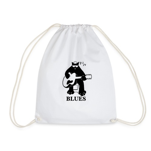 Blues Music Cat Guitar - Drawstring Bag