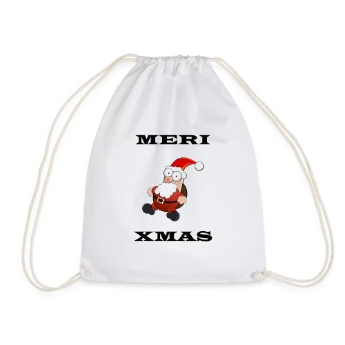 Frohe Weinachten Weihnachtsmann Schwarz - Turnbeutel
