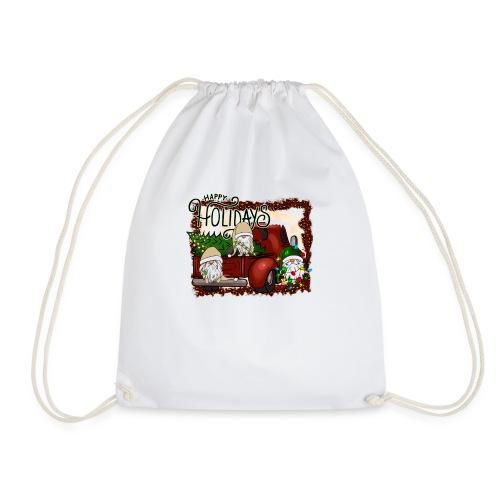 happy holidays gnomes Christmas Truck - Drawstring Bag