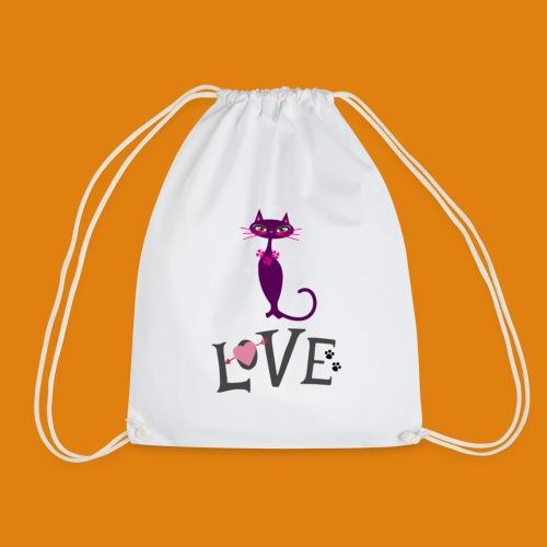 t-shirt cat love - Drawstring Bag