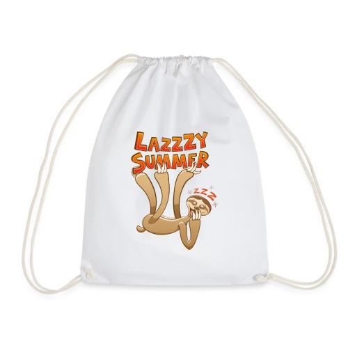 Sleepy sloth yawning and enjoying a lazy summer - Drawstring Bag