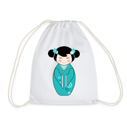 Cute Kokeshi Doll Illustration in Blue - Drawstring Bag