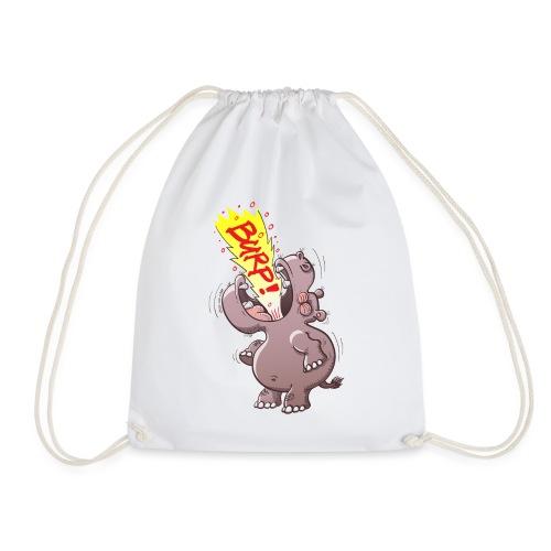 Hippopotamus Burping Loudly - Drawstring Bag