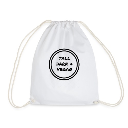 Tall Dark & Vegan Black Logo - Drawstring Bag