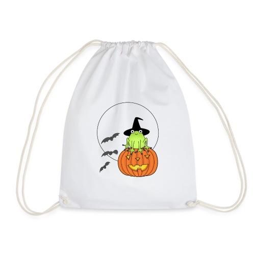 frog on pumpkin - Drawstring Bag