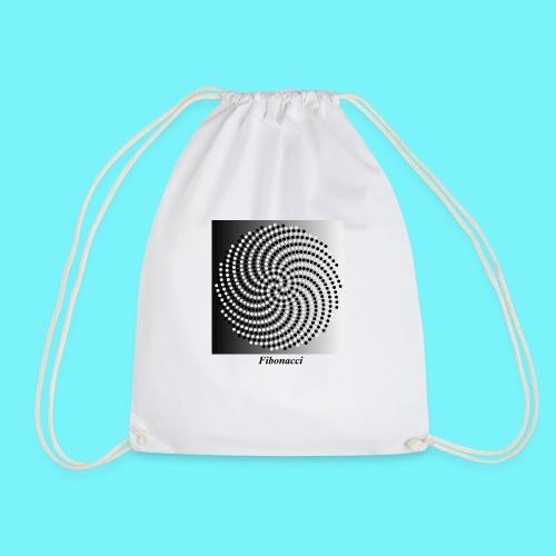 Fibonacci spiral pattern in black and white - Drawstring Bag