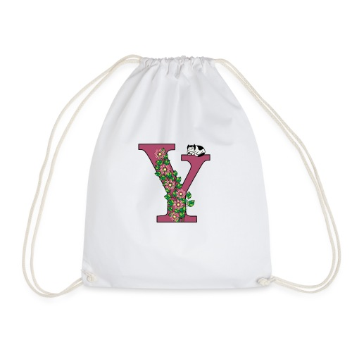 Letter Y with cat and flowers - Drawstring Bag