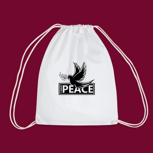 I Have Peace Black - Drawstring Bag