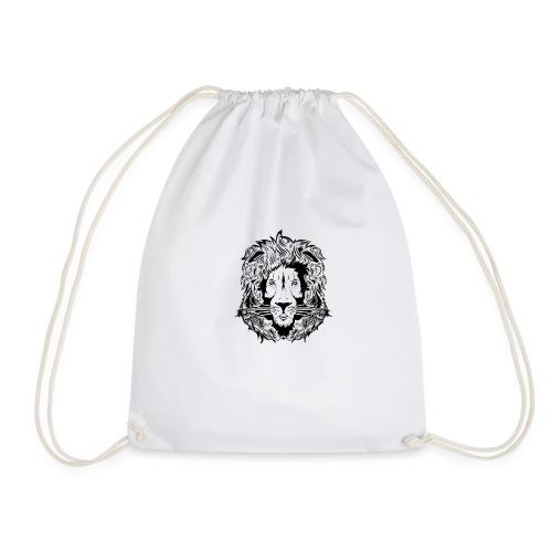 lion black on white - Drawstring Bag