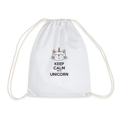 Keep calm cat licorne - Drawstring Bag