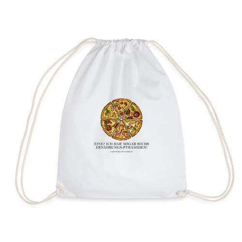 Ernährungspyramide aus Pizza - Turnbeutel