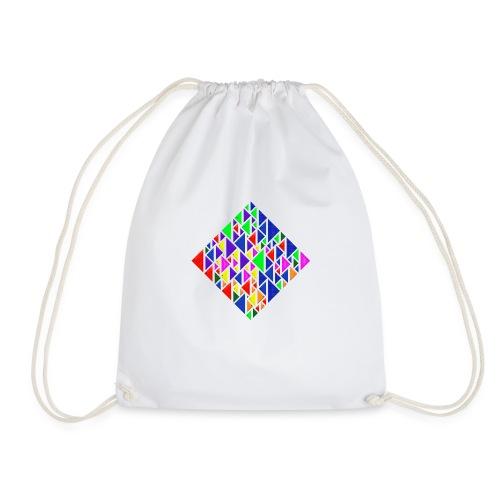 A square school of triangular coloured fish - Drawstring Bag